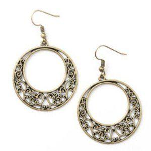 Newport Nautical Brass Filigree Earrings Jewelry